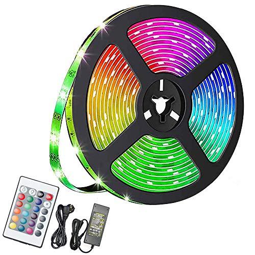TolleTour LED Strip 10M RGB LED Streifen 600 LEDs Band mit 24 Tasten Fernbedienung IP65 Wasserdicht Leiste SMD 5050, Farbwechsel, Selbstklebend Lichterkette Kit
