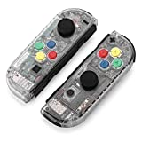 BASSTOP Portable DIY Replacement Housing Shell Case for Right Left Switch Joy-Con Controller without Electronics (Clear+Clear)