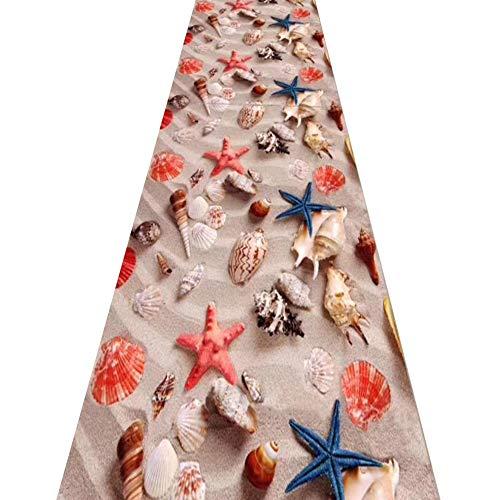 ZRUYI Tappeti Runner Tappeto Passatoia Corridoio Carpet 3D Motivo A Conchiglie di Stelle Marine Moderno Famiglia Camera da Letto Guardaroba Tappeti D'ingresso, Personalizzare Taglia