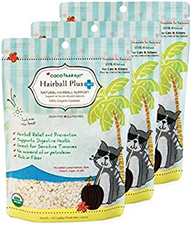 CocoTherapy 3 Pack of Hairball Plus Fiber Cat Food Topper, 7 Ounces Each, USDA Organic
