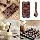 Quanjucheer silicone cucchiaio di cottura del biscotto di cioccolato fondente della muffa utensili da cucina per pane cupcake muffin pudding, Silicone, Coffee, 1.5cm x 10.8cm x 1.4cm