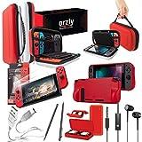 Orzly Pack de Accesorios Nintendo Switch (Funda de Viaje, Protector de Pantalla Switch, Cargador USB, Funda para Cartuchos, Funda Comfort Grip, Auriculares) Estilo Poke (Rojo/Negro/Blanco)