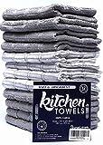 HomeLabels Kitchen Towel Grey 12 Pack (15'' x 25'') 100% Premium Cotton, Machine Wash Extra soft set of 12, Tea Towels, Bar Towels, Grey