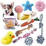 Felly Mordedor Perro Cachorro Juguetes para Perros Pequeños, 10 Piezas Juguetes Interactivo Masticar, Cuerda, Juguetes para Chirridos, Juguete de Peluche Juguetes para Perros Perrito