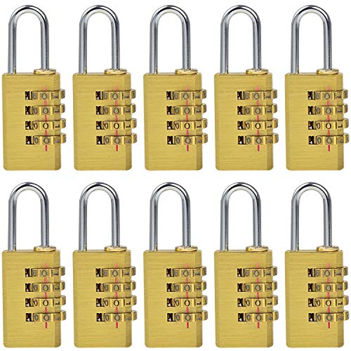 Mengs® Lot de 10mg214kombinations Cadenas à combinaison en laiton et anse en acier avec...