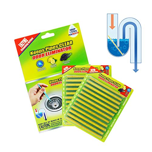 Daye Drain Cleaner Sticks Deodorizer Drain Strip Non-Toxic for Kitchen Bathroom Keeps Drains and Pipes Clear and Odor Prevent Clogs (Lemon)
