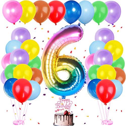 Happy Birthday Dekoration Zahl,Luftballon 6. Geburtstag Bunt,Bunt Luftballons Metallic,Happy Birthday Folienballon,Nummerndekoration,Riesen Folienballon,Happy Birthday Dekoration