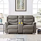 Recliner Sofa Reclining Loveseat Couch Sofa Seat Chair for Living Room - 2 Seater with Cup Holders - Home Theater Seating Manual Recliner Motion Home Furniture, Black PU (2 Seater - Grey)