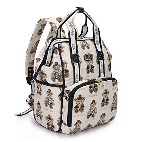 Pipi bear Diaper Bag Backpack Stylish Cartoon Jacquard Baby Travel Back Pack Nappy Bag for Mom (Cream)