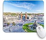GLONLY Vista de la Ciudad del Centro de Barcelona España Panorama Bus Catedral Fuente Viajes,Alfombrilla Raton Alfombrilla Gaming Alfombrilla para computadora