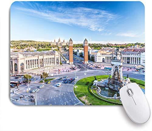 Marutuki Gaming Mouse Pad Rutschfeste Gummibasis,Stadtansicht des Zentrums Barcelona Spanien Panorama Bus Kathedrale Brunnen Reise,für Computer Laptop Office Desk,240 x 200mm