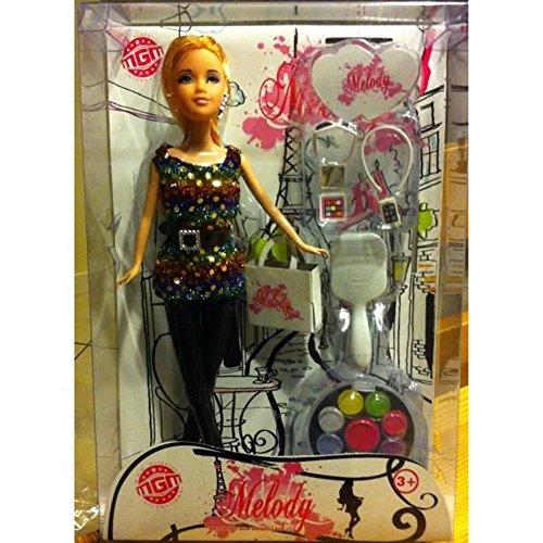 MGM - 126507 - Poupée Mannequin - Poupée Melody 30 Cm avec Accessoires Maquillage Factice - Modèle Aléatoire