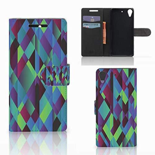 B2Ctelecom Kartenfach Tasche für HTC Desire 628 Handyhüllen Abstrakt Grün Blau