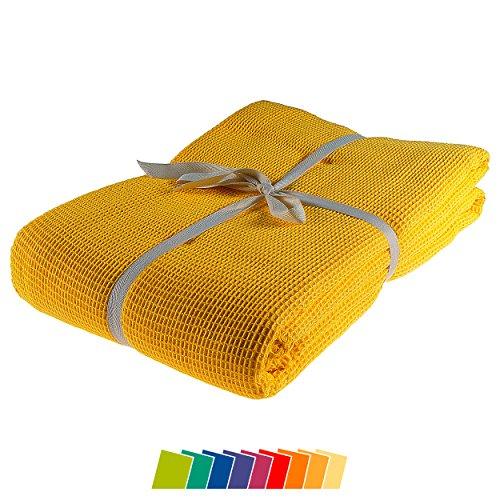 kneer KULTUR DER NACHT Waffelpique Decke, Baumwolle, Gelb, 150 cm x 210 cm