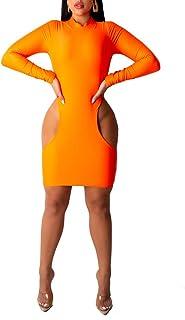 Mini abito aderente da donna a maniche lunghe Solid Hollow Out aderente