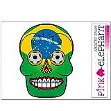 pinkelephant Aufkleber - Sugar Skull - Fußball - Fahne - Brasilien - 14,5 cm x 20 cm - Laptop Sticker skin flag