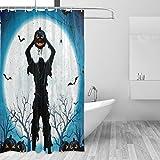 KGSPK Imperméable Rideau de Douche,Horreur Halloween Dead Man Zombie avec tête de lanterne citrouille Bat Spider Hell Nightmare Dark Scary Fict,Baignoire Rideaux Accessoires de Salle de Bain 180x180cm