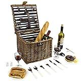 Home Innovation Set cestino da picnic in vimini per 2 persone, cestino da picnic quadrato ...