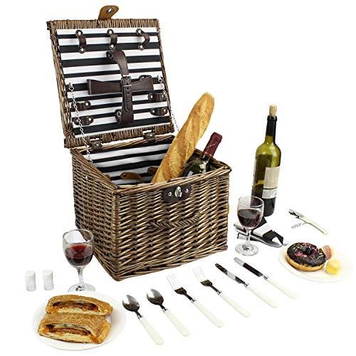 Cesta de picnic de mimbre, cesta de picnic de sauce para 2 personas, cesta de picnic de forma cuadrada con herramientas de comedor, perfectamente en bodas, viajes a la playa, comidas campestres