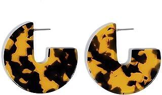 Acrylic Resin Hoop Earrings - Tortoise Shell Earrings for...