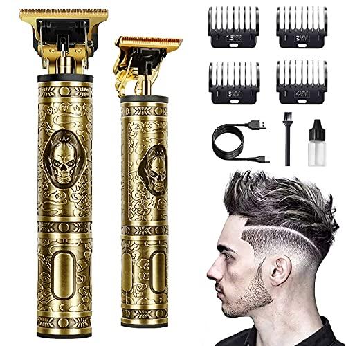 Haarschneidemaschine Profi,Kabelloser 0 mm T-Blade Trimmer Herren.Haarschneider Männer Wasserdicht.Langhaarschneider Herren Elektrischer, Bartschneider Haartrimmer (Kupfer)