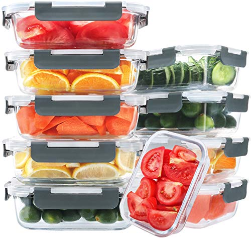 [10-Pack,22 Oz]Glass Meal Prep Containers,Glass Food Storage Containers with lids,Glass Lunch Containers,Microwave, Oven, Freezer and Dishwasher (22 Oz)