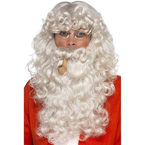 Smiffys 45181 - Heren Kerstman set, pruik, baard, bril en fluit, One Size, grijs