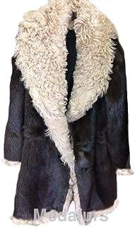 Men's Size 46 XL New Beaver Fur Coat with Curly Lamb Fur Vin Diesel Brown