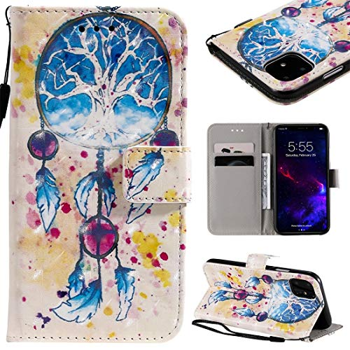 MOLIBAIHUO For IPhone 11 Case, 3D Painted Pattern Horizontal Flip Leather Case for IPhone 11, With Wallet & Holder & Card Slots & Lanyard PHONE CASE (Pattern : Wind chimes)