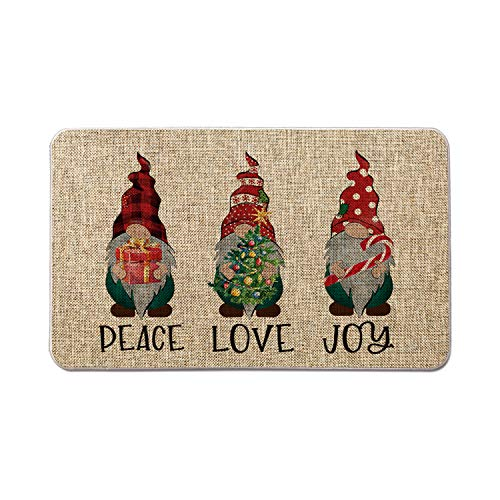 Artoid Mode Peace Love Joy Gnomes with Gift Box Christmas Tree Candy Cane Decorative Doormat, Seasonal Winter Christmas Holiday Low-Profile Floor Mat Switch Mat for Indoor Outdoor 17 x 29 Inch
