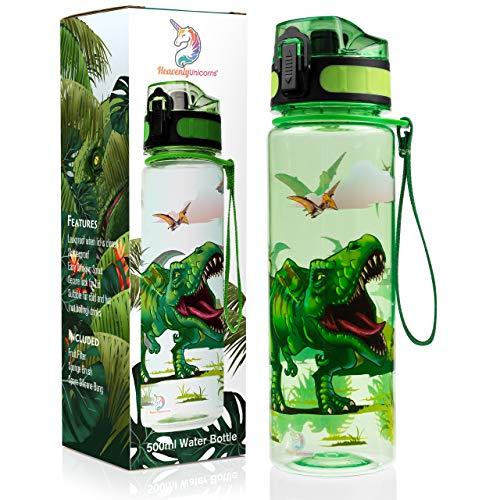 HeavenlyUnicorns Dinosaurier-Wasserflaschen für Jungen und Mädchen, Schule, Arbeit, Reisen, auslaufsicher, bruchsicher, BPA-frei, 500 ml