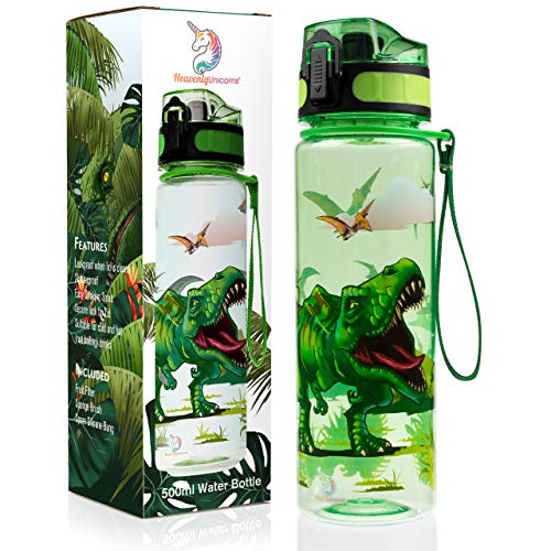 HeavenlyUnicorns Dinosaur Kids Water Bottles for Boys and Girls, School, Work, Travel, LEAKPROOF, SHATTERPROOF, BPA Free 500ML