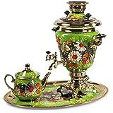 Daisies Electric Samovar Set with Tray & Teapot Russian Samovar