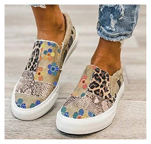 Zapatos de mujer nuevos zapatos de lona primavera leopardo estampado de leopardo resbalón en las damas pisos patchwork al aire libre mujer deporte zapatillas deportivas ( Color : Color , Talla : 39 )