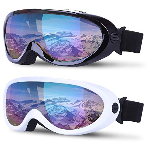 TURNMEON 2 Pack Ski Snowboard Goggles with Anti Fog Glare Lenses Adjustable Strap Snow Goggles for Men Women Kids Boys Girls Winter Outdoor Sports Skiing, Skating, Motorcycling