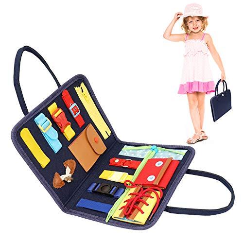Herefun Tablero Ocupado para Niños, Habilidades Básicas Juguetes Educativo Temprano Busy Board para Niños Juguetes Sensoriales Montessori Aprende a Vestir Habilidades Motoras Finas Aprendizaje Regalo