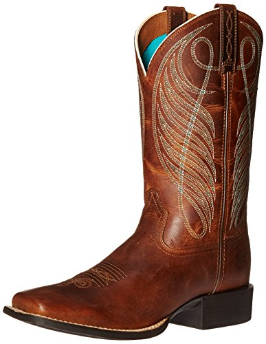 Ariat Women's Round Up Wide Square Toe Western Cowboy Boot, Powder Brown, 9.5 B US