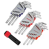 WORKPRO Allen Wrench Set, 27-piece Long Arm Ball End Hex Key, Torx Key, with T-handle for Excellent Grip & Torque Transfer