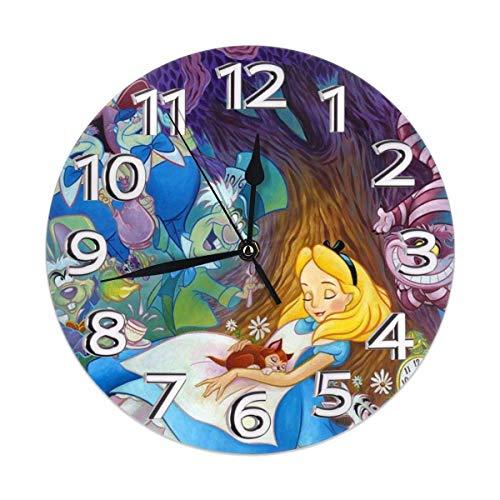 Reloj de pared decorativo con diseño de Alicia en el país de las maravillas silencioso y sin tictac, funciona con pilas,