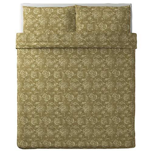 Ikea Junimagnolia Duvet Cover and Pillowcase(s) Green White Full/Queen (Double/Queen)