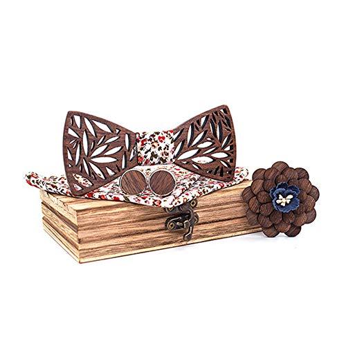 Holzfliege männer holz fliege herren klassische 3d geprägte hölzerne Fliege Set Plaid Quadrat Schal Manschettenknöpfe Lässige Massivholz Umweltschutz Set (C1)