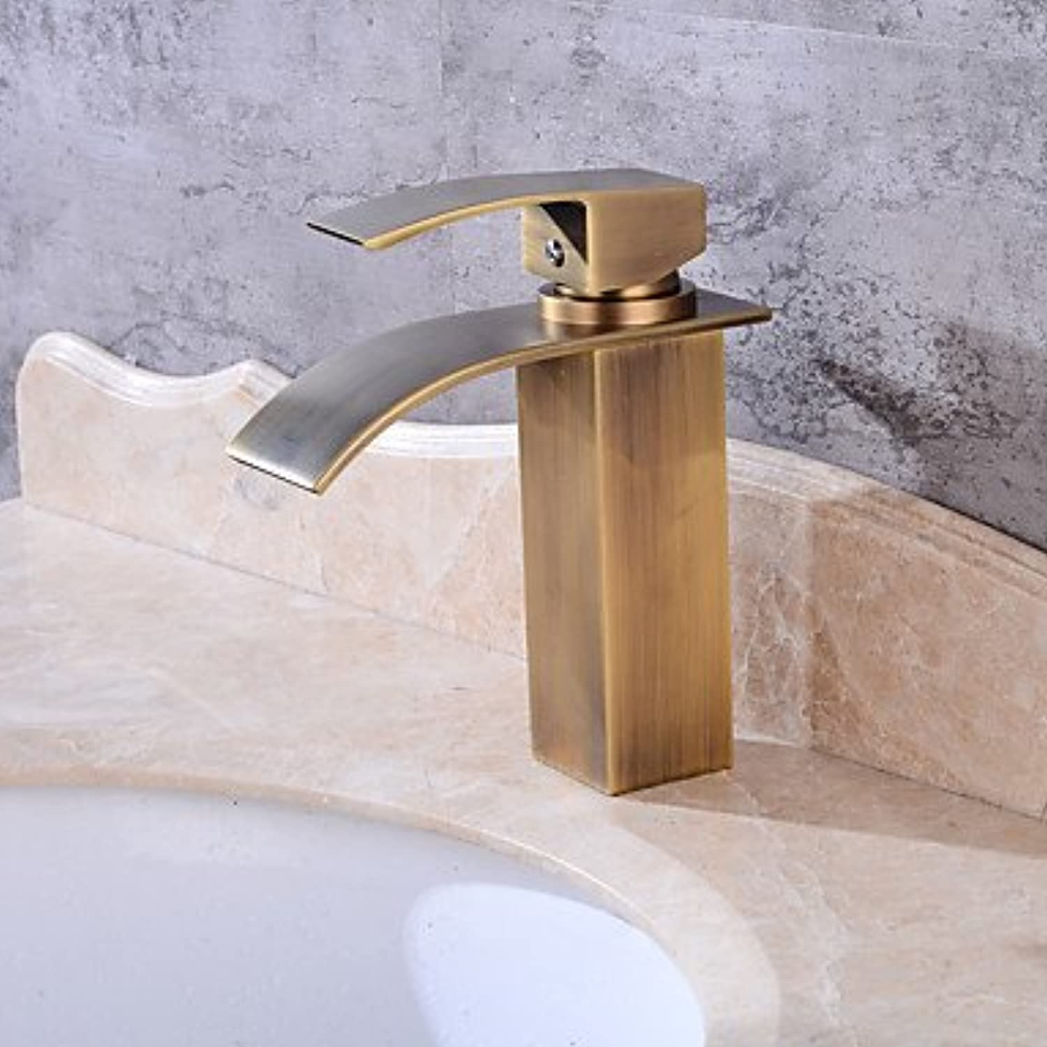 Mangeoo Faucet Set - Waterfall Antique Copper Centerset Single Handle One Holebath Taps