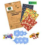 Reusable 4 Beeswax Food Wraps and 6 Silicone Stretch Lids, Sustainable, Plastic Free