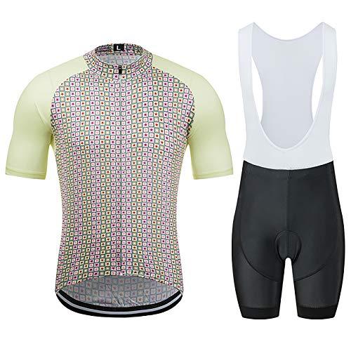 LSZ Trajes De Ropa De Ciclismo para Hombre Conjunto De Ropa De Bicicleta con Cremallera Completa De Manga Corta Shorts con Tirantes De Secado Rápido con Acolchado De Gel 9D