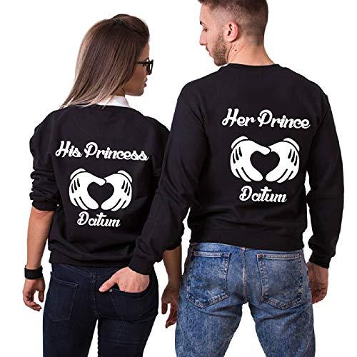 TISFAN Couple Partner Pullover Partner Pärchen Hoodie mit Wunschdatum Paar Sweatshirt King Queen Kapuzenpullover Partnerlook Pulli 1 Stücke(Schwarz,Prince-L+Princess-XL)