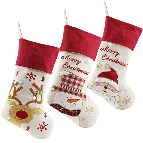 WEWILL Lovely Christmas Stockings Set of 3 Santa, Snowman, Reindeer, Xmas Character 3D Plush Linen Hanging Tag Knit Border (1) (Style1)