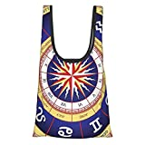T-shop Hippie Decorations Astrological Wheel Zodiac Signs Horoscopes Mystic Magical Bohemian Mandala Interior Exotic Decor Art Bed Decor Yellow Blue Reusable Fold Eco-Friendly Shopping Bags