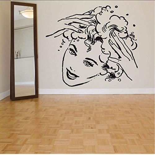 Layyqx Art Deco Vinyl Afneembare Muurtattoo Meisjes Shampoo Patroon Friseursalon schoonheid 65 x 57 cm
