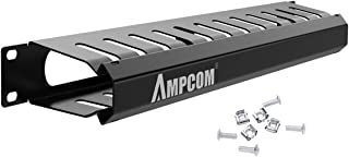 AMPCOM 1U Cable Management Horizontal Mount 19 inch Server Rack with Mounting Screws, 12 Slot Metal Finger Duct Wire Organizer with Cover