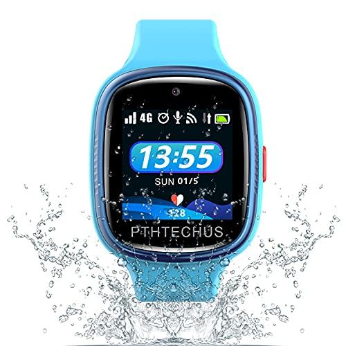 PTHTECHUS 4G Smartwatch Phone para niños, videollamada Reloj WiFi + GPS Anti-perdido Impermeable IP68 y Standby de 72 Horas, Despertador SOS para el Juego de Reloj para niños, niños de 3 a 12 años